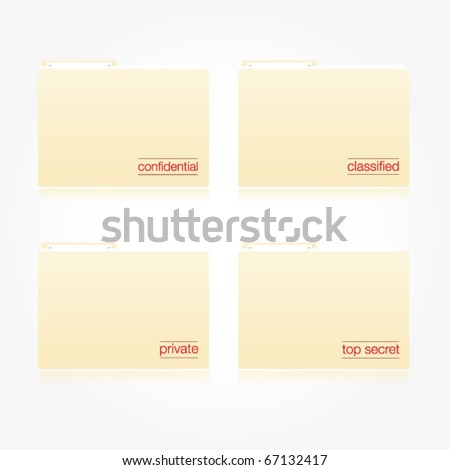 Modern vector folders with different high priority and secret messages on each. - stock vector