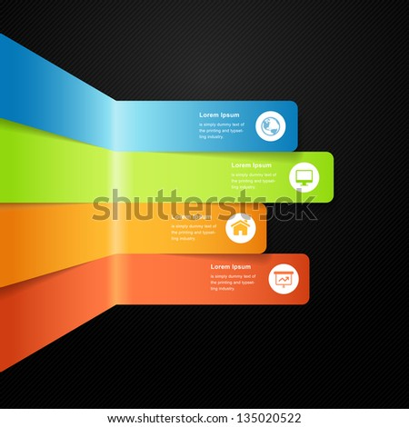 Modern vector full color info graphic bar with icon and text space - stock vector