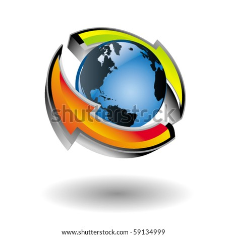 Modern vector icon of the earth with colorful arrows around it. - stock vector