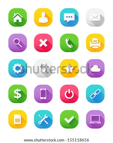 Modern Vector Icons Set for Web and Mobile - stock vector