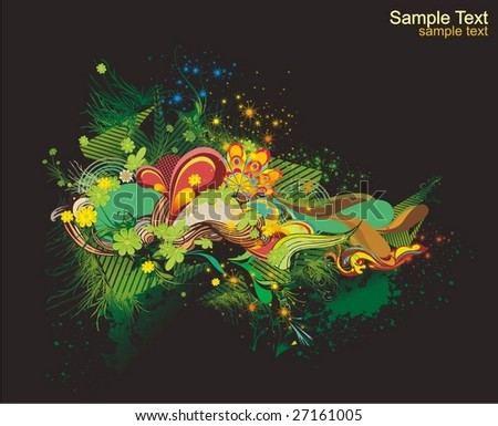 modern vector illustration,floral elements with abstract shapes,ink blots - stock vector