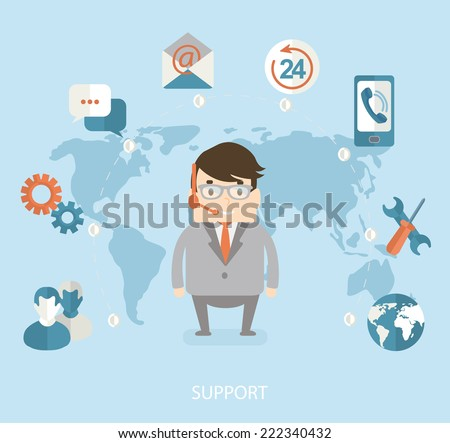 Modern vector illustration icons set in flat style of technical support. Man with icons. Vector. - stock vector