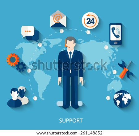 Modern vector illustration icons set in flat style of technical support with long shadow. Man with icons. Vector. - stock vector
