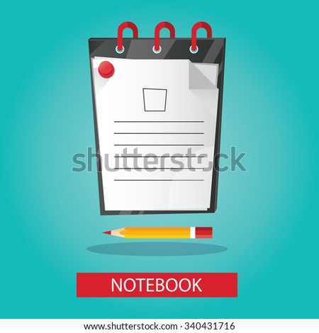Modern vector illustration of brightness notebook with pencil on colorful background - stock vector