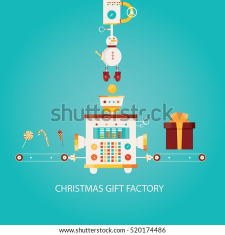 Modern vector illustration of Christmas gift factory. Industry of Happy New Year