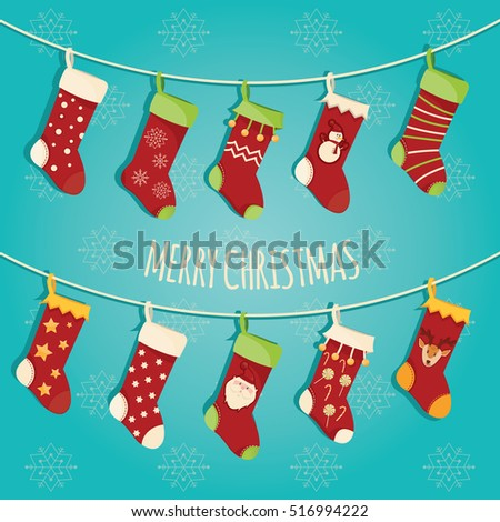 Modern vector illustration of Christmas socks with different design. Isolated on snowflakes background