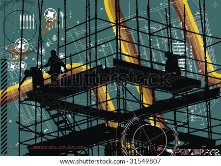 Modern vector illustration of construction workers on site. - stock vector