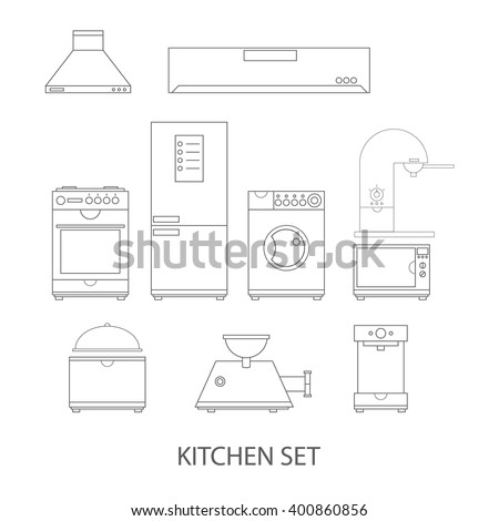 Modern vector illustration of kitchen line icons set, kitchen appliances web icons - stock vector