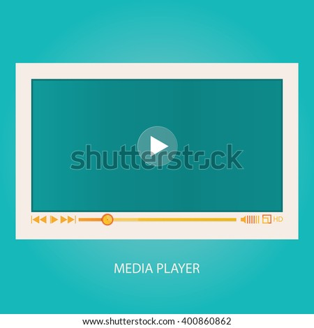 Modern vector illustration of media player interface, video player for web - stock vector