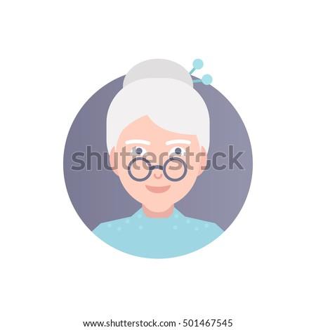 Modern Vector Illustration Old Woman Glasses Stock Vector
