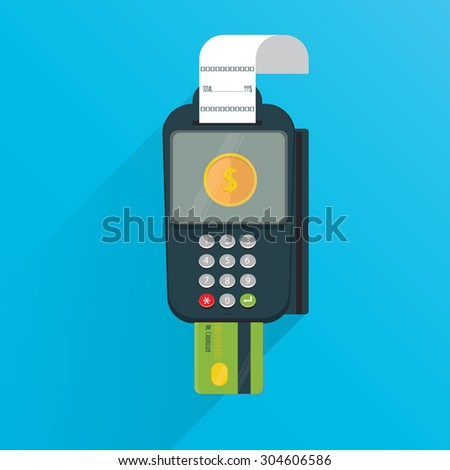Modern vector illustration of POS payment terminal with credit card and printed reciept/ - stock vector
