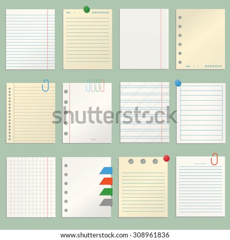 Modern vector lillustration of different sheets of note papers and color paper clips. - stock vector