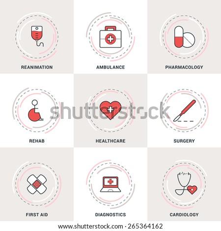 Modern Vector Medicine Line Icons Set. Ambulance, Reanimation, Healthcare, Cardiology, Pharmacology - stock vector