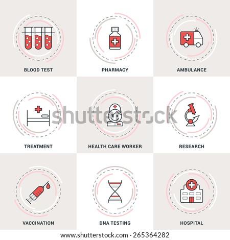 Modern Vector Medicine Line Icons Set. Blood Test, Ambulance, Healthcare, Vaccination, Hospital - stock vector