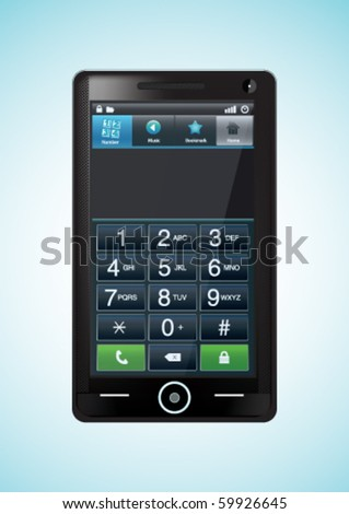 Modern vector mobile phone with touch screen panel - stock vector
