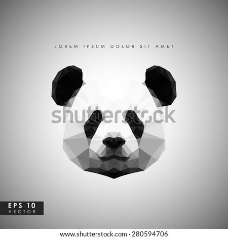 Modern vector panda in polygonal style - stock vector