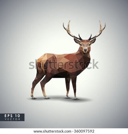 Modern vector polygonal illustration. Low poly colorful wild deer. - stock vector