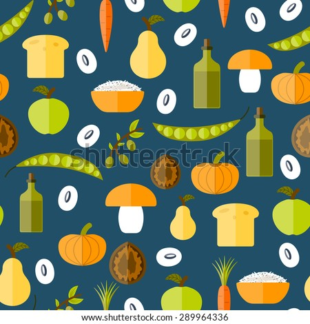 Modern vector seamless background with objects in flat shadow style on vegan food theme: fruit, vegetable, mushroom, soy, bean, oil, nut, bread, rice. Raw healthy food or vegan concept. - stock vector