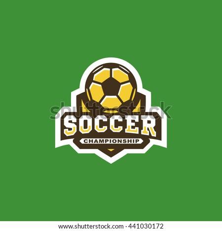 Modern vector soccer football championship shield logo emblem - stock vector