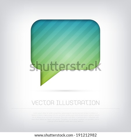 Modern vector speech bubble icon with bright colorful striped background. Cut out style with inner shadow. - stock vector