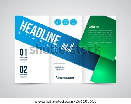 Modern Vector three fold brochure, leaflet, flyer design template for business with text and abstract signs. - stock vector