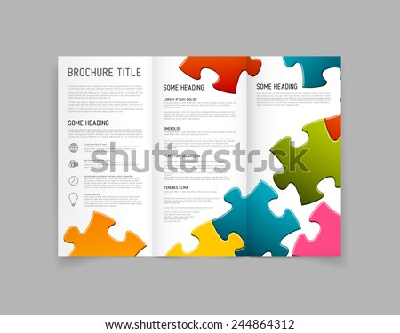 Modern Vector three fold brochure / leaflet / flyer design template with puzzle pieces - stock vector