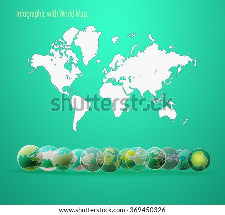 Modern vector world map background flat design style, additional icons Globe - the continents - stock vector