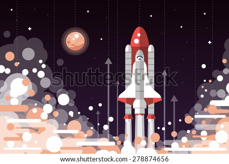 Modern vectorflat design illustration of space shuttle launch - stock vector
