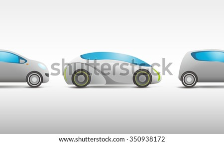modern vehicle and future vehicle, side view, vector illustration