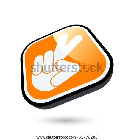 modern victory sign - stock vector