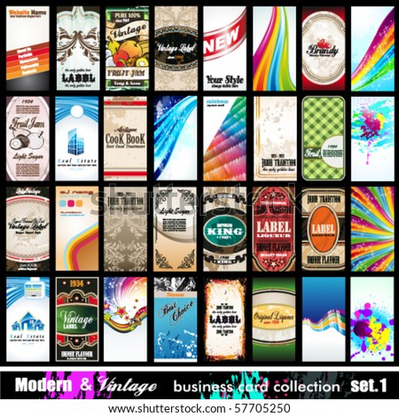 Modern & Vintage Business Card Collection - 32 quality backgrounds - Set 1 - stock vector