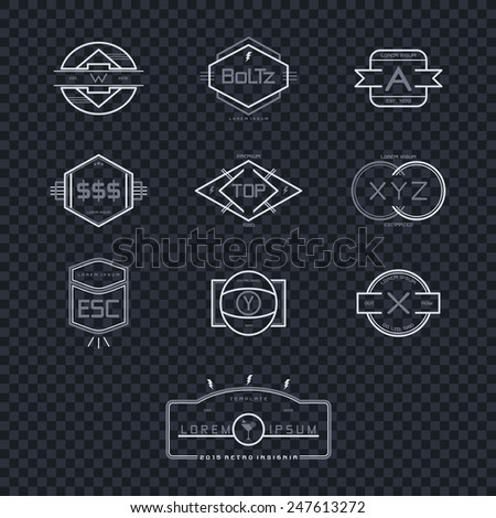 modern vintage insignia template collection - stock vector