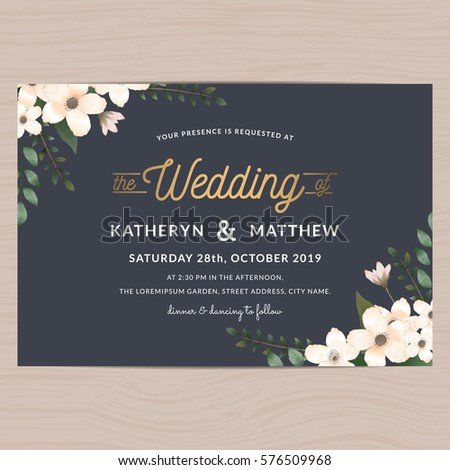 Modern vintage save date wedding invitation stock vector 2018 modern vintage save the date wedding invitation card template decorated with flower floral vector illustration stopboris Images
