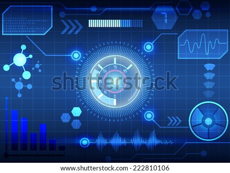 Modern virtual technology background interface - stock vector