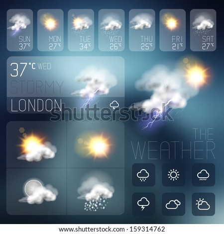 Modern Weather symbols and Interface design. Vector illustration. - stock vector