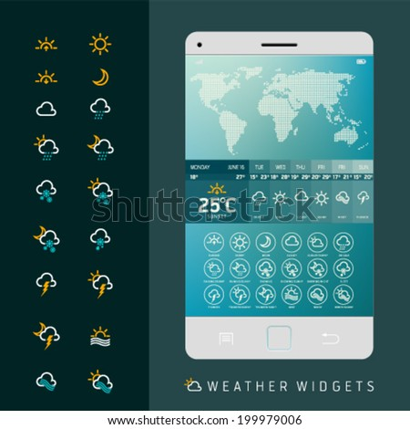 Modern Weather Widget Symbols and Interface Design. Vector illustration. Set of weather icons for web and mobile. Flat design easy editable for your design. - stock vector