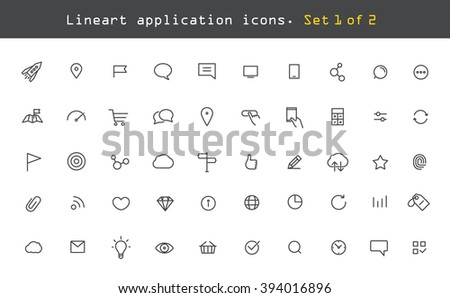 Modern web and mobile application pictograms collection. Lineart intercece icons set - stock vector