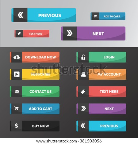 Modern web buttons flat design with square style