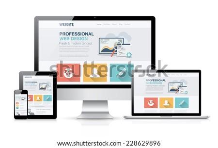Modern web design concept. Flat vector illustration mock up. - stock vector