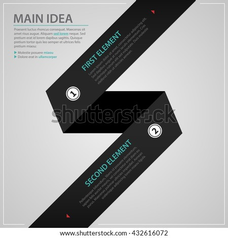 Modern web design template with black paper stripe and two numbered options. Strict corporate business style. Useful for annual reports, presentations and media. - stock vector