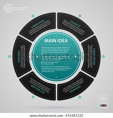 Modern web design template with complex circle and six options. Strict corporate business style. Useful for annual reports, presentations and media. - stock vector