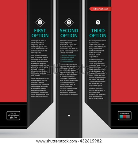 Modern web design template with three black paper stripes and options. Strict corporate business style. Useful for annual reports, presentations and media. - stock vector