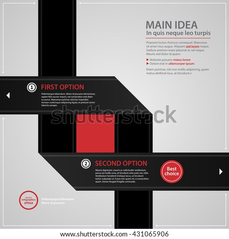 Modern web design template with two crossing black paper stripes and numbered options. Strict corporate business style. Useful for annual reports, presentations and media. - stock vector