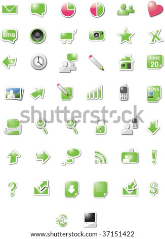 Modern web 2.0 icons - green candy edition - stock vector