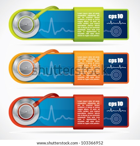 Modern web2 medical banner set with stethoscope and reflection - stock vector
