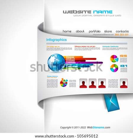 Modern web templave with paper style background and transparent shadows. Ideal for business website with a lot of infographic charts elemenets. - stock vector