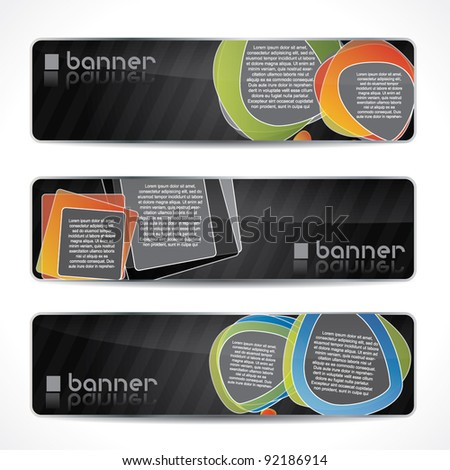 Modern website banner set with speech balloons, black design with reflection - stock vector