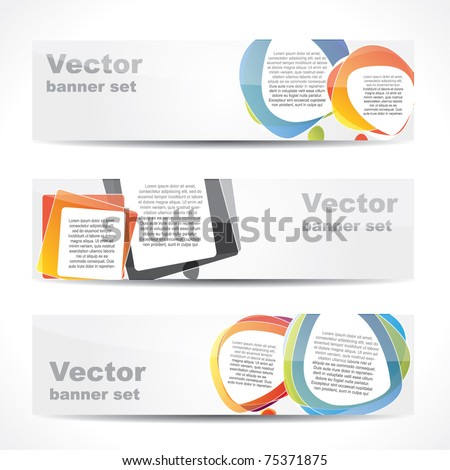 Modern website banner set with speech balloons in different shapes - stock vector