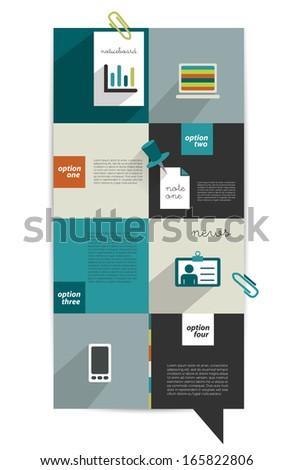Modern website template. Colorful minimalistic option banner. Vector illustration. Box diagram. - stock vector