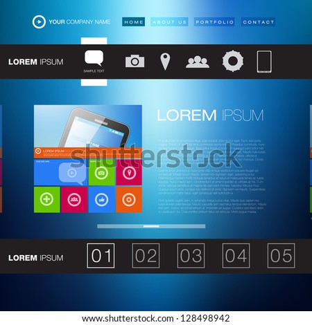 Modern Website Template | Creative Media Design | EPS10 Editable Vector Layout - stock vector